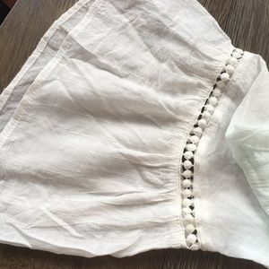 Spense Tops - Lace-up white peasant blouse